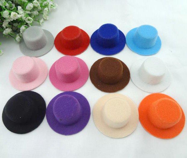 Wholesale 60pcs/lot Hen Party Plain Mini Top Hat Base Cute Hat for DIY Hair fascinator base Doll hat. 12 colors Mixed Colors(China (Mainland))