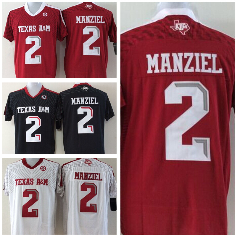 New College Football Jerseys A&M Texas Aggies Johnny Manziel Jersey Red Black White Best Stitched Quality For Men Free Shipping(China (Mainland))