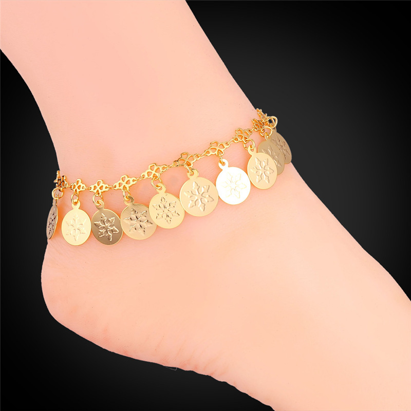 Gold Snow Anklet Coin Pattern For Women Leg Platinum/18K Real Gold Plated New 2015 Trendy Chain Foot Jewelry Leg Bracelets A211(China (Mainland))