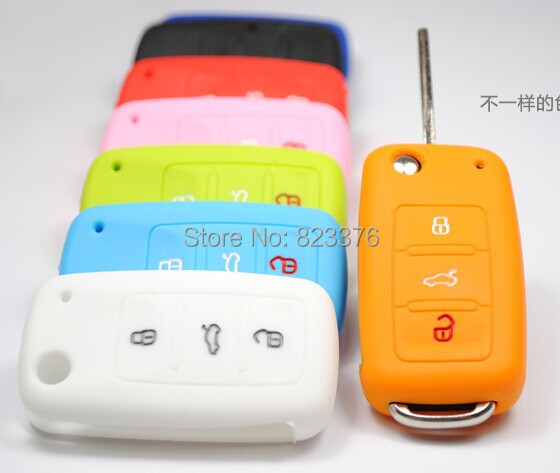 DHL Free shipping 300pcs Silicone Car Key Fob Cover Remote Key case wallet for volkswagen Tiguan middle light muti color(China (Mainland))