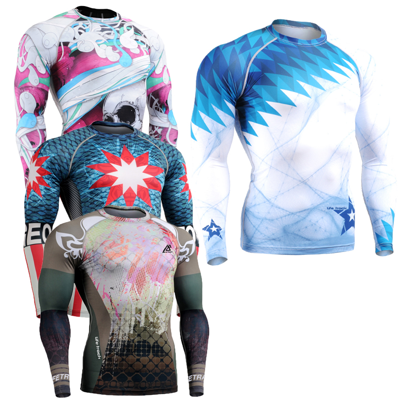 Long Sleeves Mens Skin Rashguard Complete Printing Compression Shirts Multi use Fitness GYM MMA Running Body
