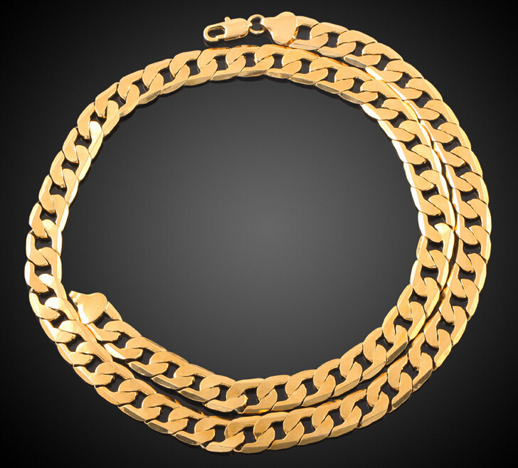 Hot Sale 18K Real Gold Plated Men/Women 1+1 Figaro Chain Necklace Fashion Costume Necklaces Jewelry Free shipping(China (Mainland))