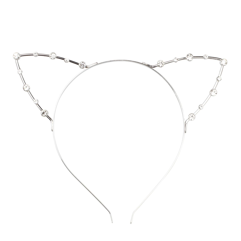 DSGS 5 x ( Korean Cat Ear Party Pearl Crystal Rhinestone Headband Headwear Punk Hair Silver(China (Mainland))