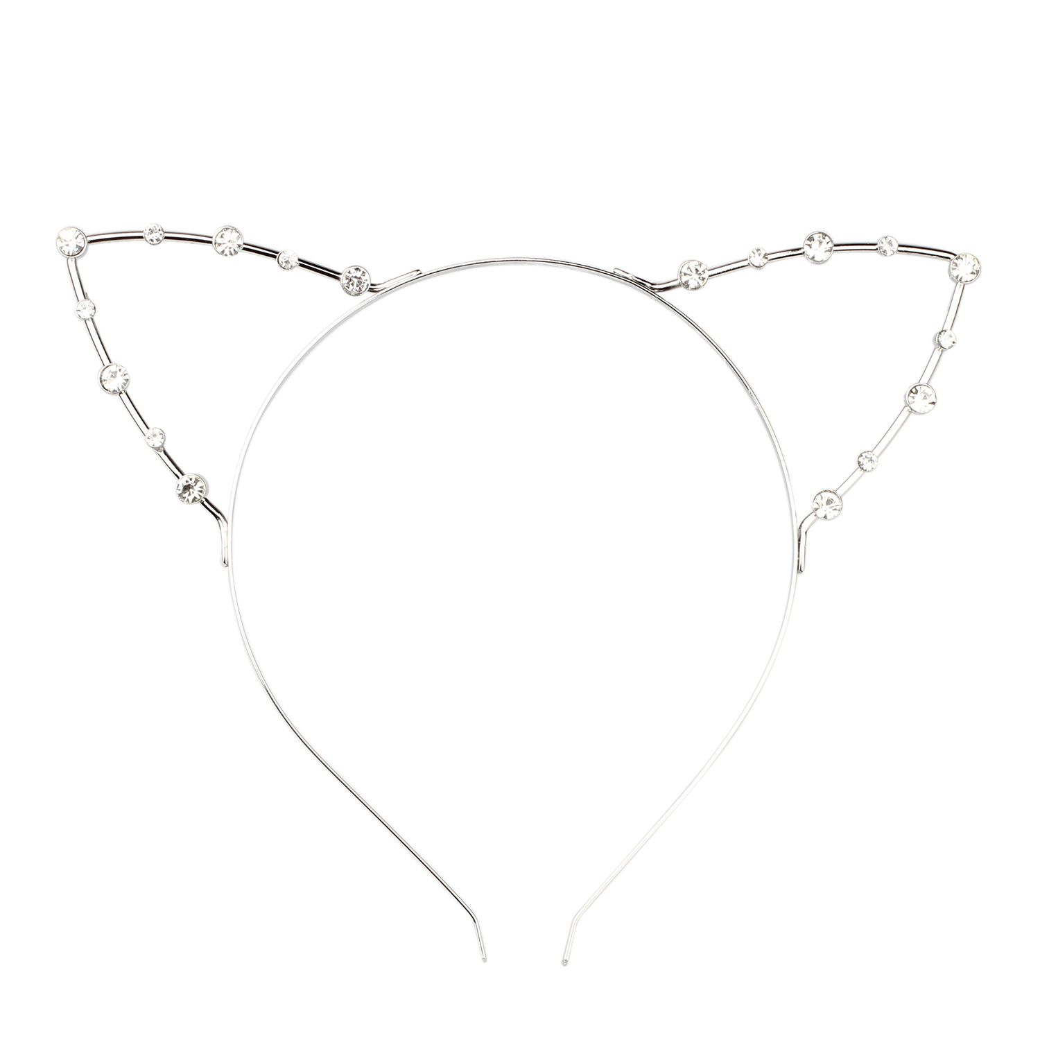 Korean Cat Ear Party Pearl Crystal Rhinestone Headband Headwear Punk Hair Silver(China (Mainland))