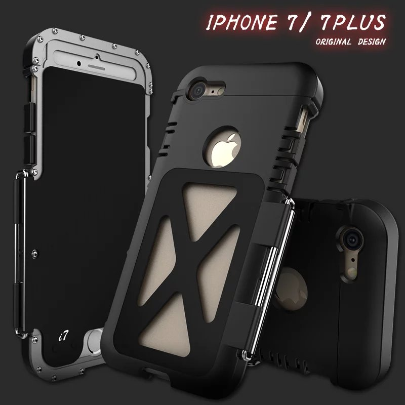 i7 plus R-JUST Armor King metal aluminum Cover case for iphone 7 / 7 plus Phone Climb Outdoor Heavy Duty Flip Stand Cover Case(China (Mainland))