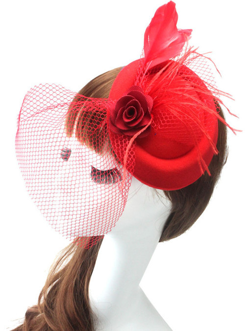 Women Couture Headpiece/Bridal Veil Hats/Cute Feather Hat/Beautiful Headwear/Wedding Accessories black/red/blue/pink 1047(China (Mainland))