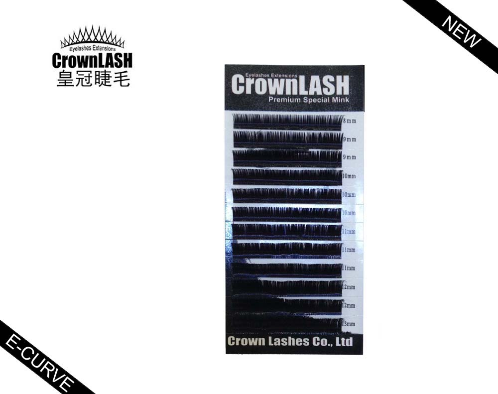 Crownlash 0.05, 0.07, 0.15, 0.20, 0.25 Eyelash Extension E-curve 8-13mm mixed size tray extreme curly Crown Lash(China (Mainland))