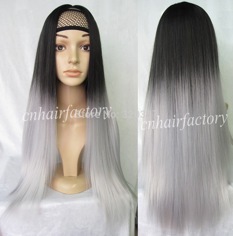 Fashion Ombre Wig 3 4 Half Wig Straight Long Two Tone