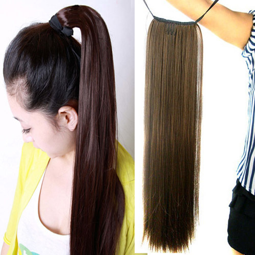 Women's Long Straight Hair Piece Steel Synthetic Ponytail Hair Extensions New(China (Mainland))