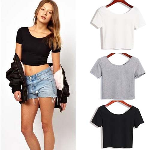 Summer Sexy Crop Top Ladies Short Sleeve t shirt women tops Basic Stretch T shirts Bare
