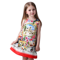 2016 summer Robe Fille Baby Girl Dress Rose Floral Pattern A Line Princess Dress Girls Clothes