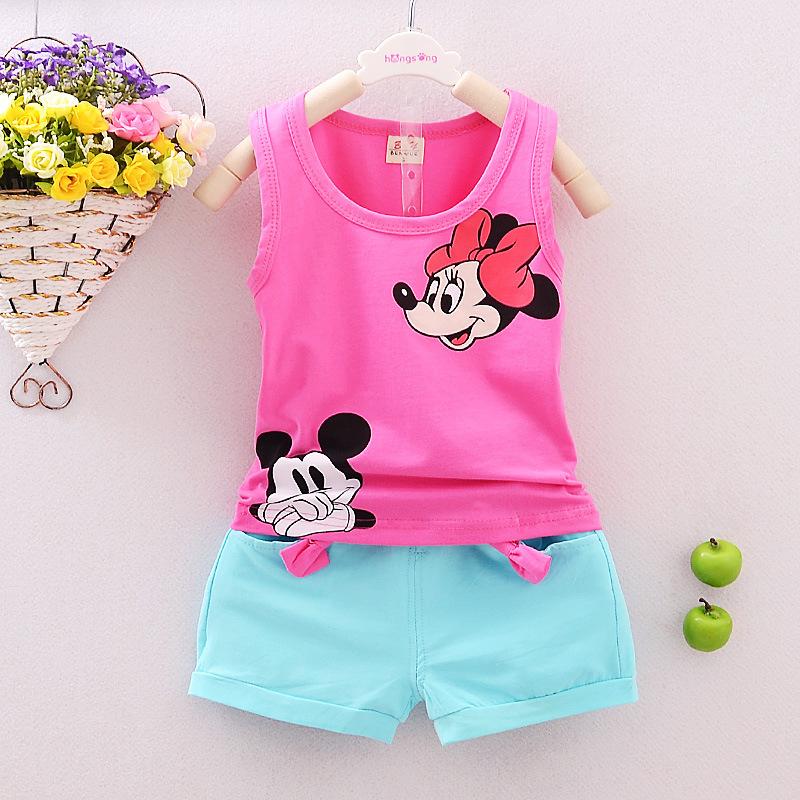 Toddler Girls&Boys Clothing Sets Kids Minnie Vest + Shorts 2 Pics Suits 2016 New Summer Children Mikey Clothing Sets Baby 12M-5T(China (Mainland))