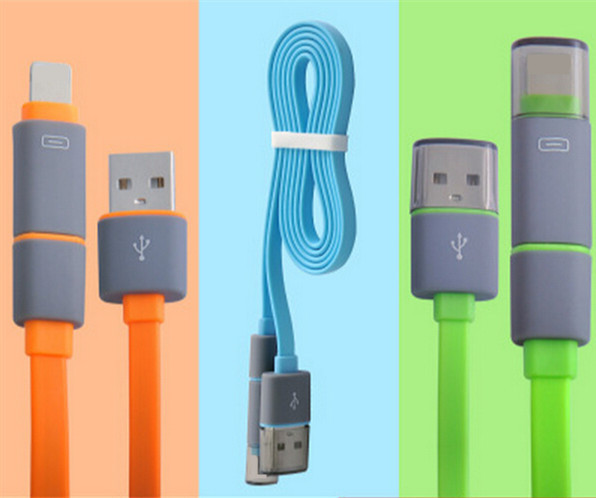 2 in 1 Micro USB Charging and Data Transfer Cable and 8 Pin Adapter for Samsung S4 S6 Note4 for iPhone 6 6 Plus 5 5S for Android(China (Mainland))