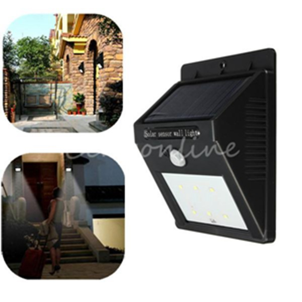 IP64 Waterproof 6 LED Solar Power Infrared PIR Motion Sensor Panel Induction Outdoor Street Garden Fence Wall Lantern Light Lamp(China (Mainland))