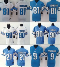 A+++ all stitched Women Lady Detroit Lions,#81 Calvin Johnson,20 Barry Sanders, 9 Matthew Stafford #90 Wright(China (Mainland))