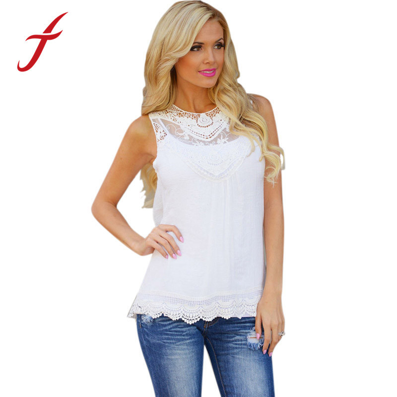 Feitong blusa de renda feminino Women Summer 2015 Cotton Bend Lace Sleeveless Casual Tops Tank For Girl Plus Size