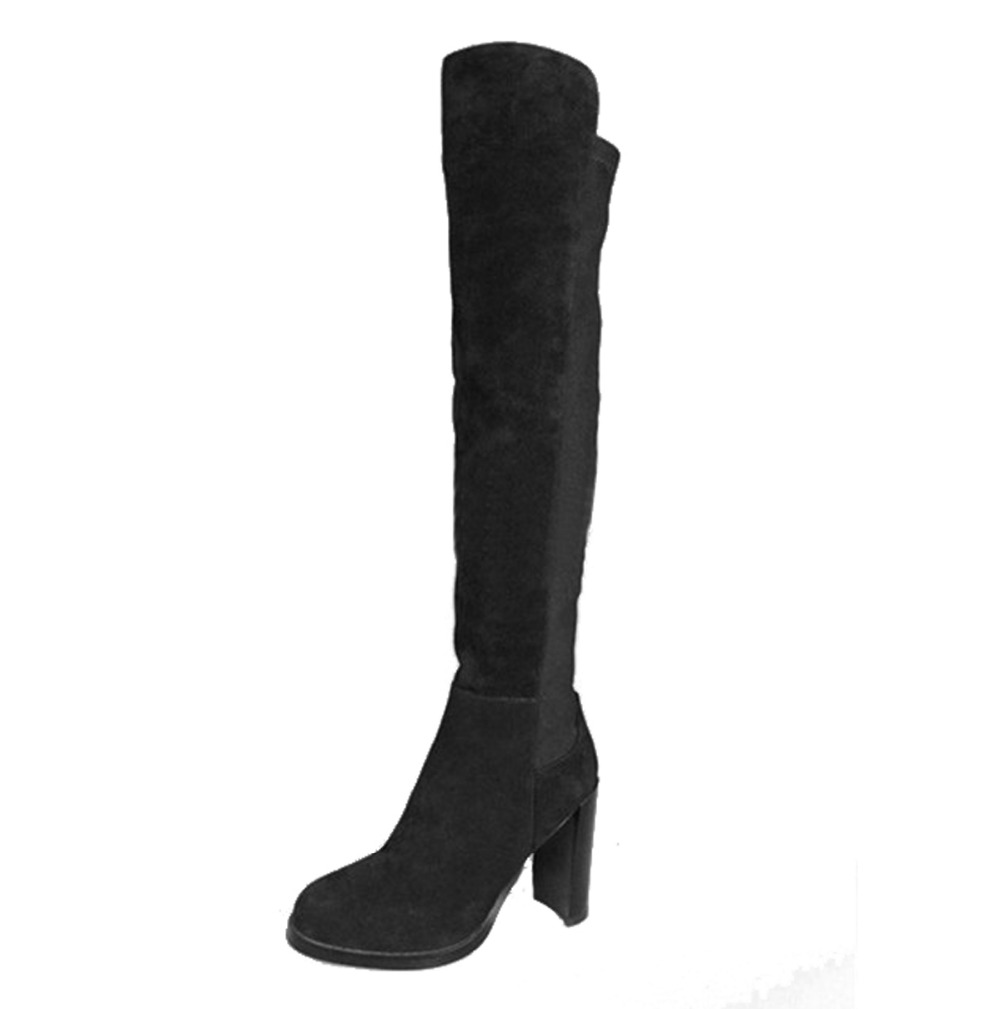 ZKshoes 2015 new winter fashion women Knee-High boots black high heel boots shoes size 34--39