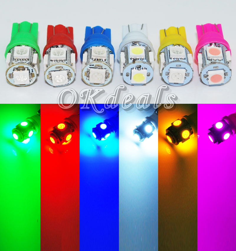 10PCS T10 White Green Yellow Pink Blue Red 168 194 501 W5W 5 SMD LED Car Side Wedge Light Lamp Bulb DC 12V(China (Mainland))