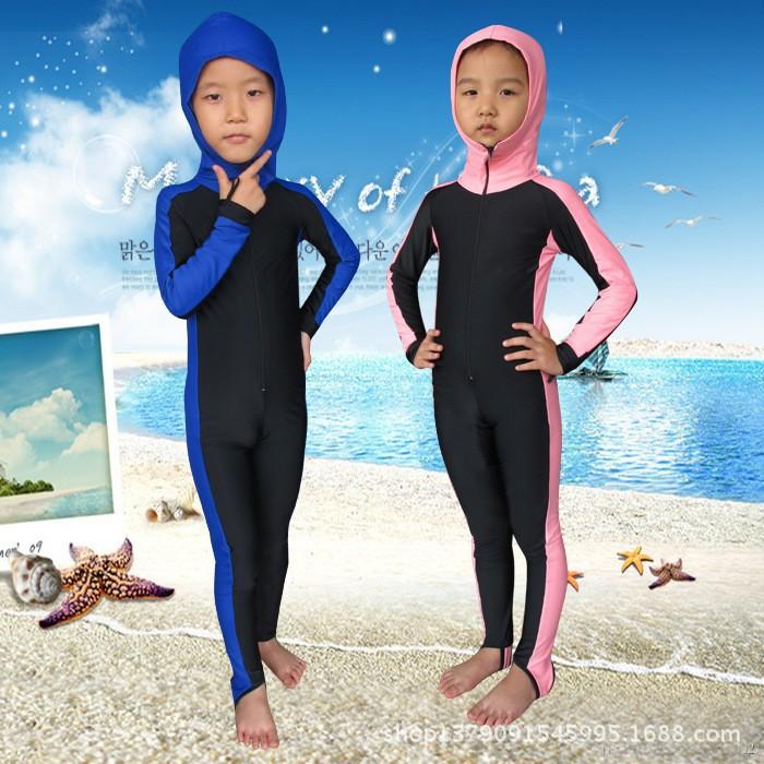Sbart Children Long Sleeve Sunscreen Scuba Diving Wetsuit Kids Swimwear Full Suit Bodysuit Wetsuit With Hood For Kids G(China (Mainland))