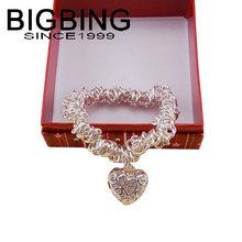 BigBing  jewelry fashion Silver chain heart pendant  Bracelet female tassel charm Bracelet fashion jewelry nickel free  TL373(China (Mainland))