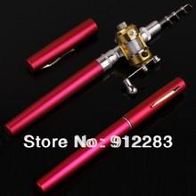 Free Shipping 5pcs Red Mini Pocket Aluminum Alloy Pen Fishing Rod Pole w/ Reel SZ071
