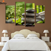 4 rectangular canvas painting home decoration Art wall Lucky Bamboo shipping watch digital pictures (borderless) F1767(China (Mainland))