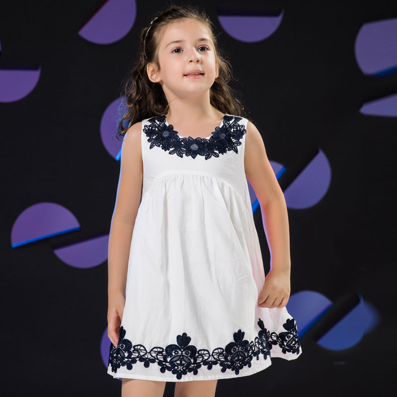 Girls Summer Dress 2016 Brand Kids Embroidery Dress for Girls Children Casual Party Dress Toddler Girl Summer Clothing(China (Mainland))