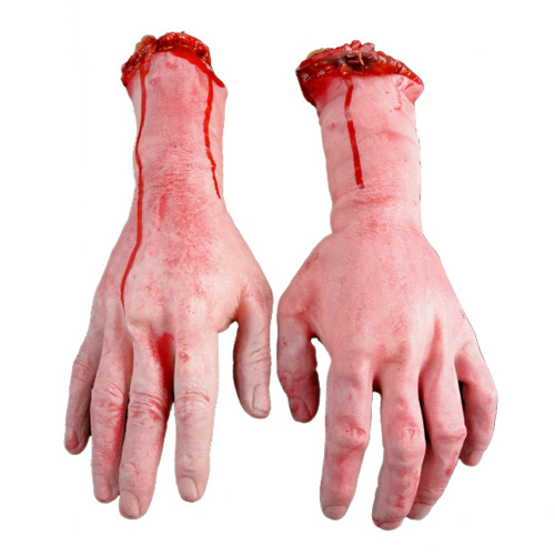 Hot 2015 New Lifesize Human Arm Hand Bloody Dead Body Parts Haunted House Halloween Prop(China (Mainland))
