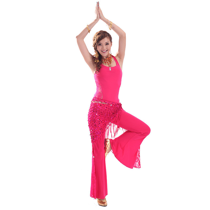 New blue/blue/red/lake blue/yellow belly costumes dance india yoga dance practice adult female costumes 3 peices(bra+belt+pants)(China (Mainland))