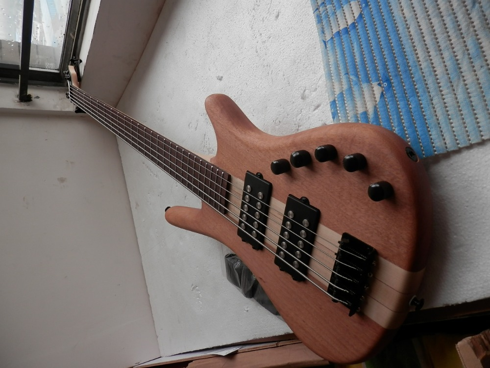 Chinese Factory Custom New W LTD 5 strings Bass natural one piece neck electric bass with 9 V Battery active pickups 33(China (Mainland))