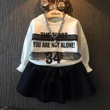 Autumn baby girl clothes long sleeve lace shirt with lace bow skirt high quality children clothing retail kid tracksuit  clothes(China (Mainland))