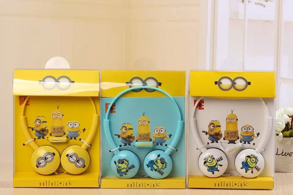 2016 Minions font b Headphone b font with Mic for Iphone 5 5s 6 6plus cute