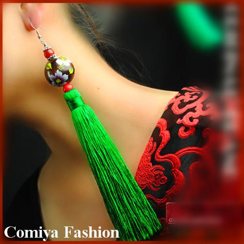 Китайский этнический стиль винтажный лето марка длинная большие большой кисточка веревка серьги ручной работы pendientes для элегантный женщины