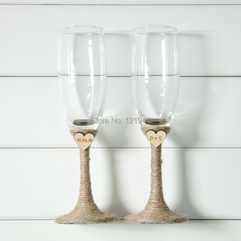 wedding glasses set rustic wedding champagne toasting flutes custom