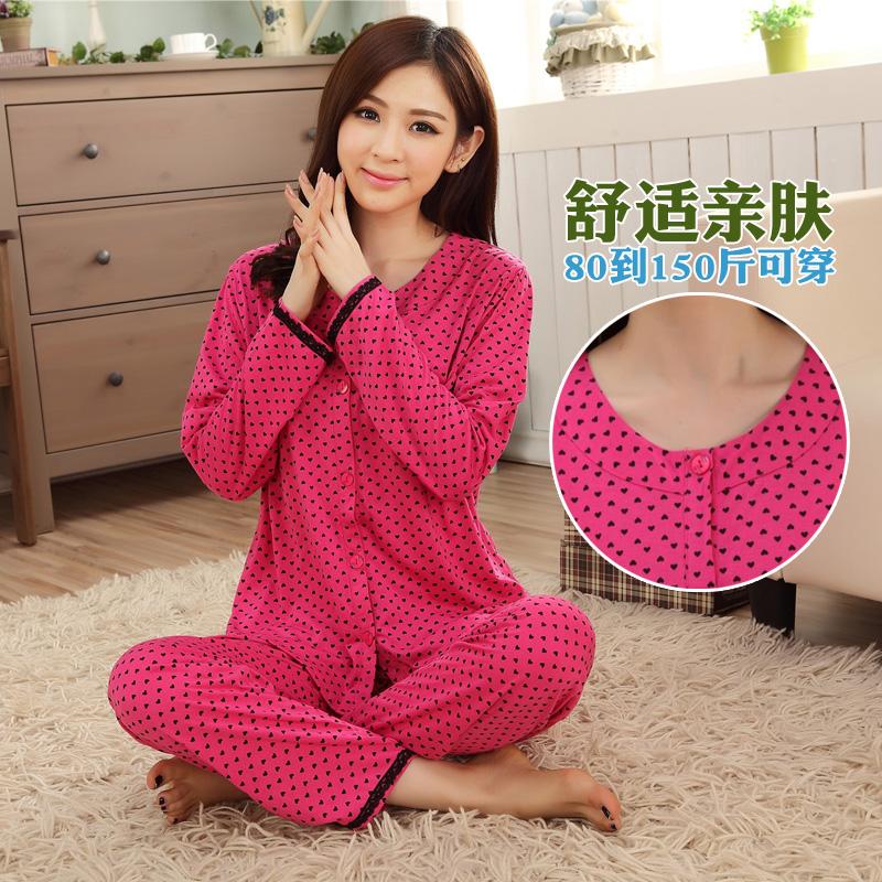 cotton pajamas sets sleepwear female spring and autumn long-sleeve cartoon 100% cotton sleepwear girls lounge set plus size(China (Mainland))