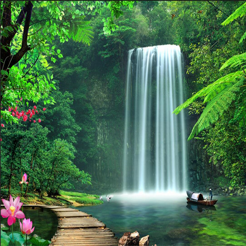 Online get cheap wall murals waterfalls for Colocar papel mural