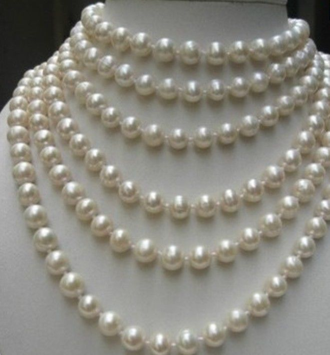 FREE SHIPPINGBEAUTIFUL 100 INCH 8-9MM WHITE AKOYA PEARL NECKLACE AAA<br><br>Aliexpress