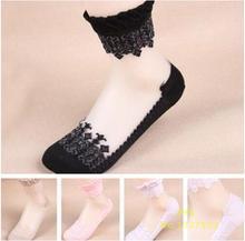 New 2016 Summer Ultrathin Transparent Beautiful Crystal Lace Elastic Short Socks 1 Pair