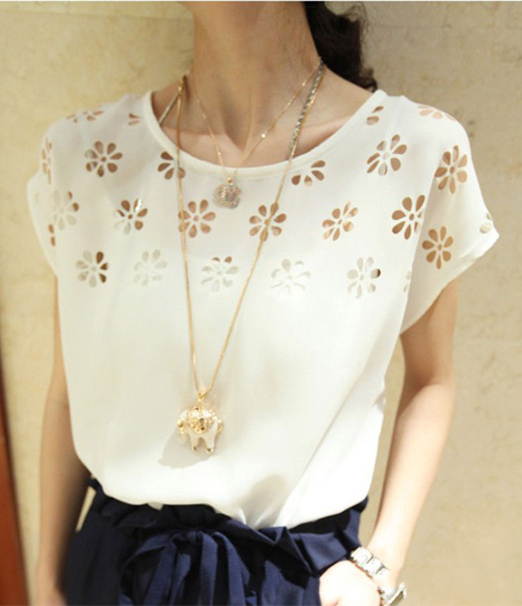 Free Shipping Women Lady Solid Sweet Slim Fit Casual Sexy O-Neck Hole Flower Chiffon Short Sleeve Tops Blouse T-Shirt
