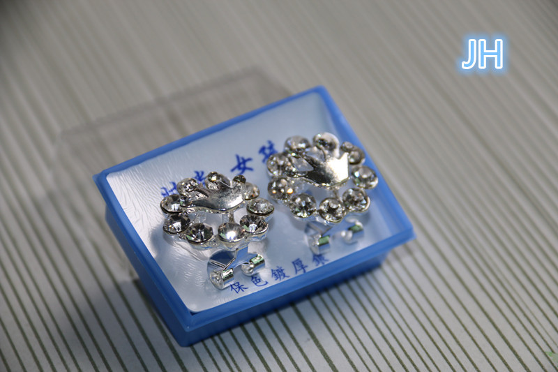 1 set New Imperial Crown Shap Silver Plated Crystal inlay Ear Stud Earring Acrylic wedding party - Yiwu Mekey Stationery Co., Ltd store