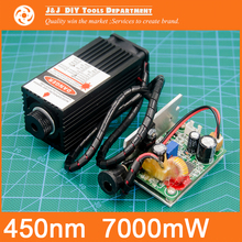 450 nm, 7000 mW 12V High Power Laser Module have TTL,Adjustable Focus Blue Laser module. DIY Laser engraver machine accessories.