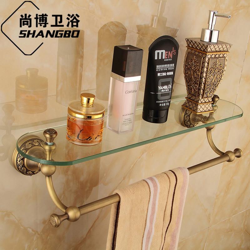 Free shipping Antique copper single tier glass dressing table fashion vintage rustic mirror shelf bathroom accessories GJ-8313F(China (Mainland))