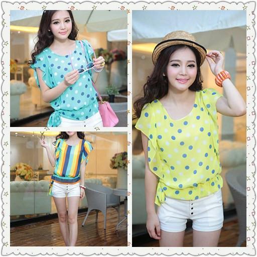 Women's summer 2013 batwing sleeve polka dot female chiffon shirt short-sleeve summer stripe chiffon top