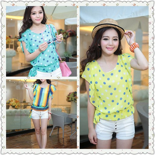 Women's summer 2013 batwing sleeve polka dot female chiffon shirt short-sleeve summer stripe chiffon top