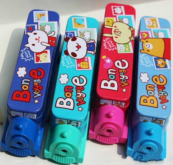 Cute Cartoon Pencil Case Multifunctional Double Pen Box + Pencil Sharpener Creative Train iron Pen Box 23 x5. 5 x6. 5 cm 4 Color(China (Mainland))