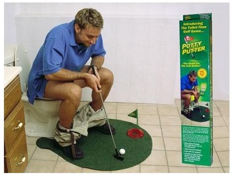 Free Shipping Potty Putter Toilet Golf Game Mini Golf Set Toilet Golf Putting Green(China (Mainland))
