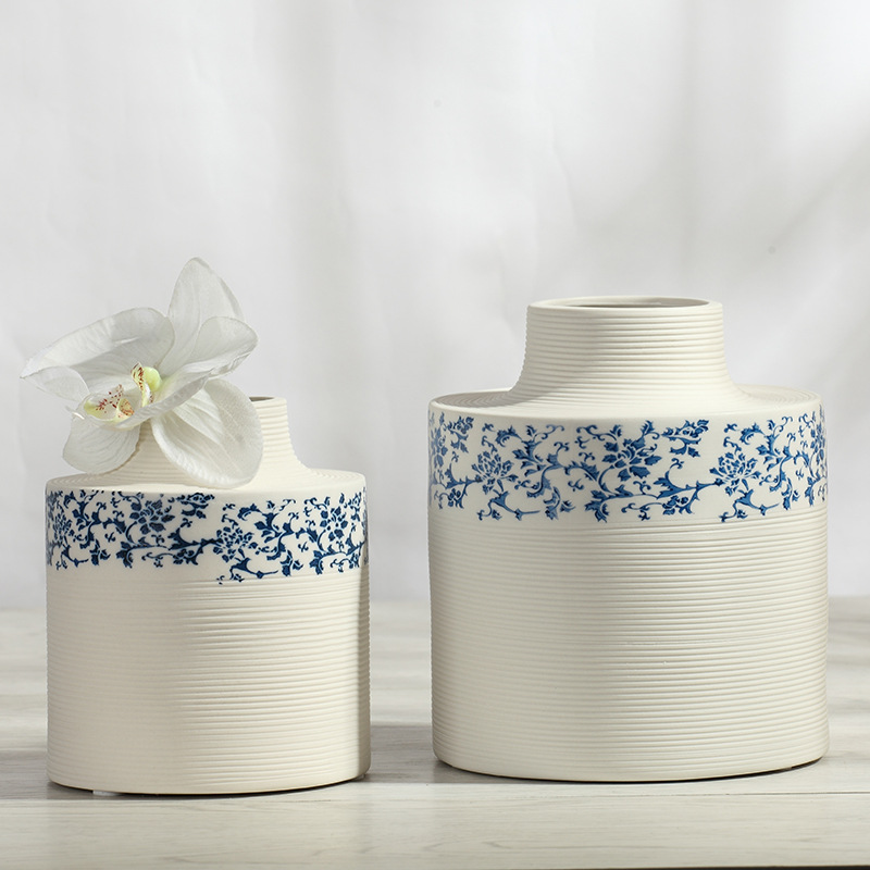 Ceramic Vase Flower Desktop European Modern Minimalist Home Decor Table Size Blue and White Porcelain Vases Flowerpot