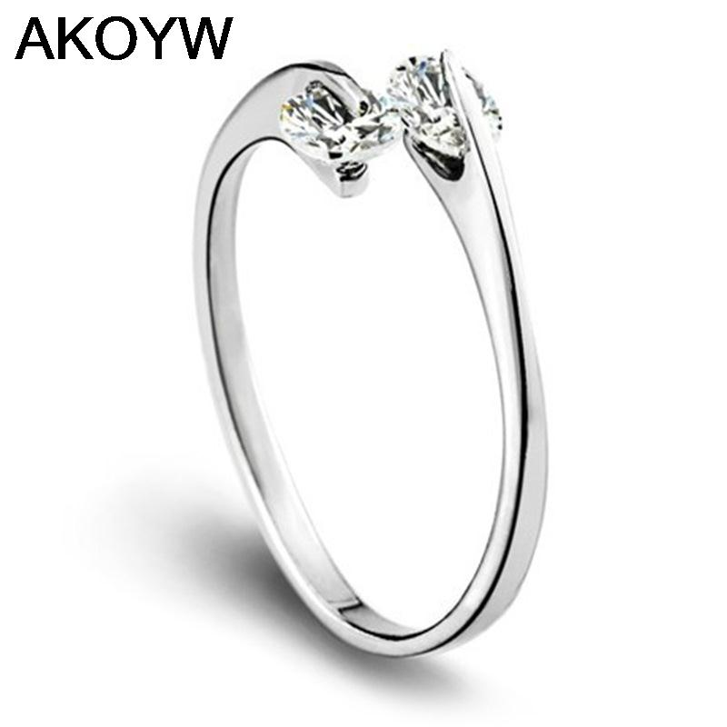 Silver plated double crystal openings rings female models wild fashion jewelry cute retro jewelry factory wholesale super flash(China (Mainland))