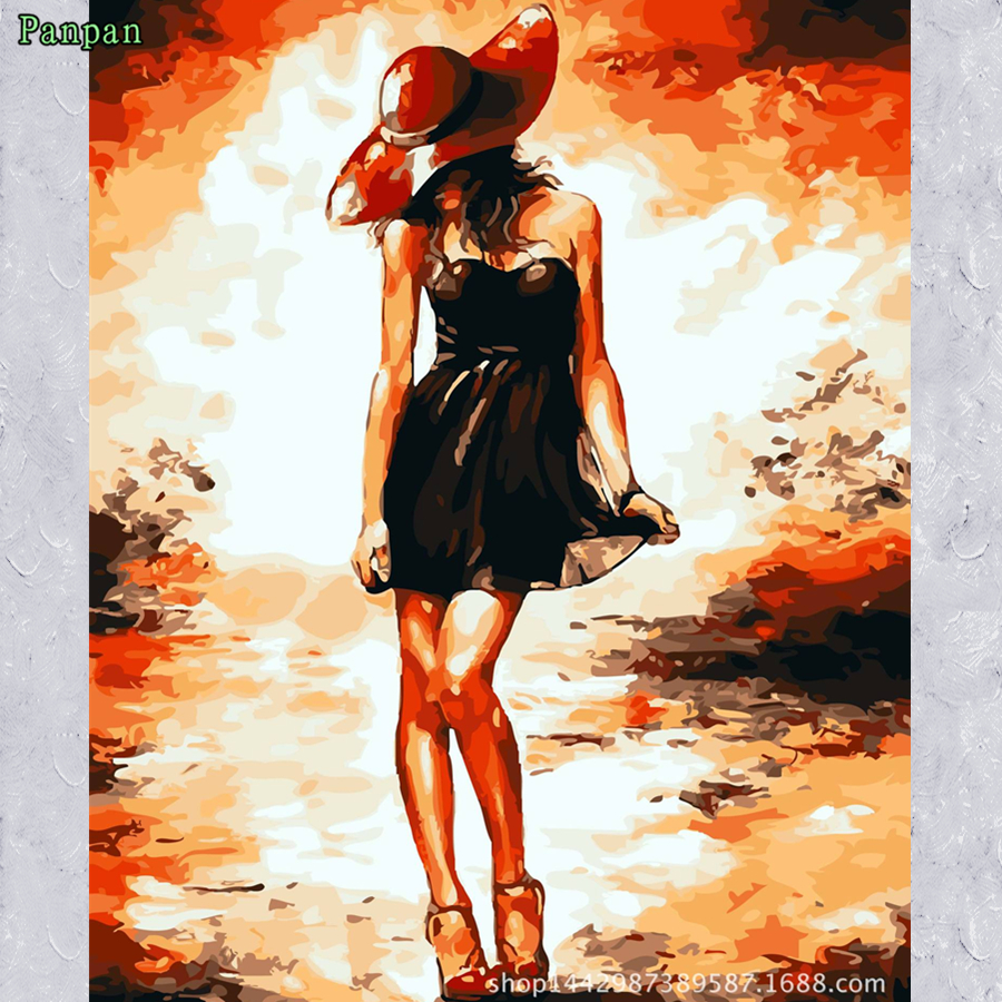 Wholesale Abstract drawing Acrylic painting by numbers Sexy woman paintings Modern Home decor canvas art Diy digital painting(China (Mainland))