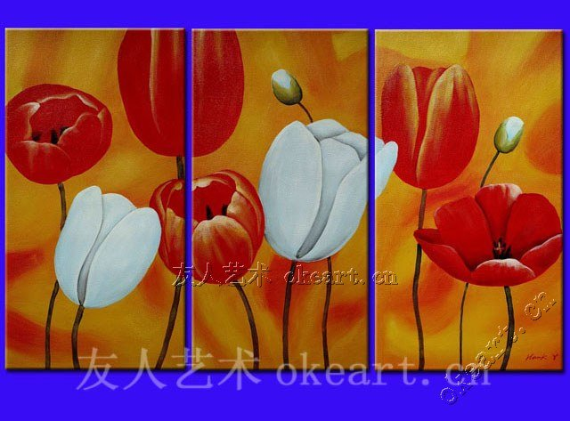 "Free shipping Poppy Flower""decorative Impressionism handmade oil painting on canvas 3 panel wall art with high quality(China (Mainland))"